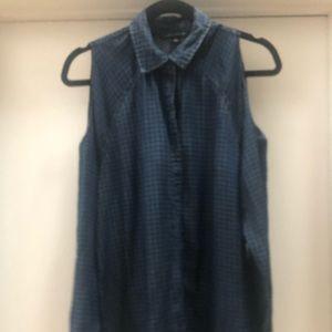 Cold shoulder denim shirt